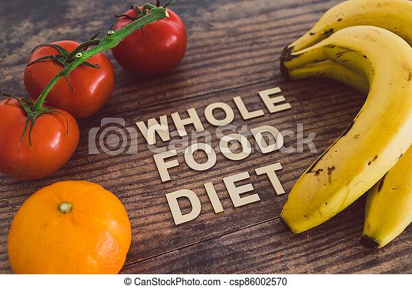 nourriture régime, bois, entier, frais, texte, produire, concept, table, entouré - csp86002570
