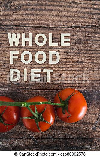 nourriture régime, bois, entier, frais, texte, concept, table, tomates, entouré - csp86002578