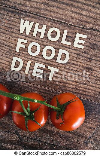 nourriture régime, bois, entier, frais, texte, concept, table, tomates, entouré - csp86002579
