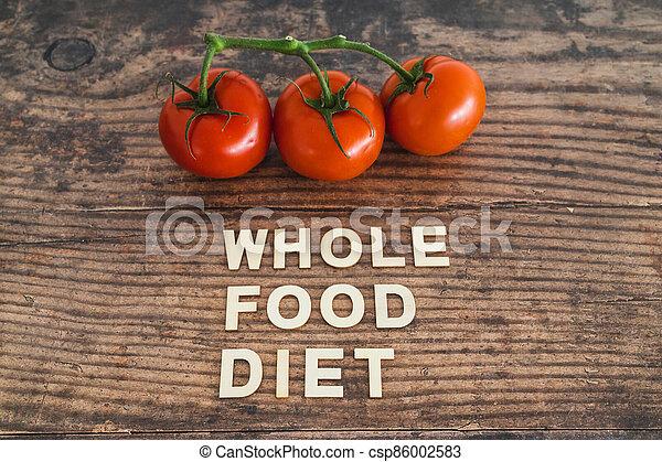 nourriture régime, bois, entier, frais, texte, concept, table, tomates, entouré - csp86002583