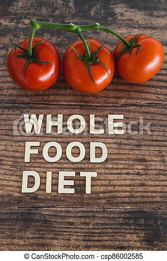 nourriture régime, bois, entier, frais, texte, concept, table, tomates, entouré - csp86002585