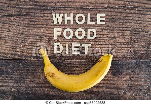 nourriture régime, bois, entier, frais, texte, concept, table, bananes, entouré - csp86002588