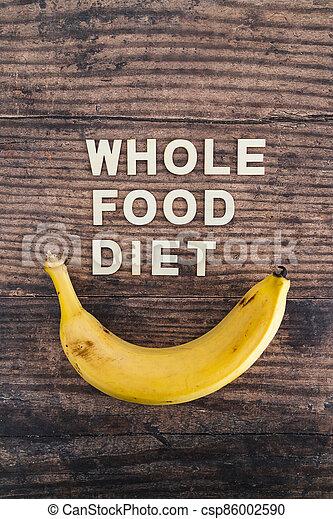 nourriture régime, bois, entier, frais, texte, concept, table, bananes, entouré - csp86002590