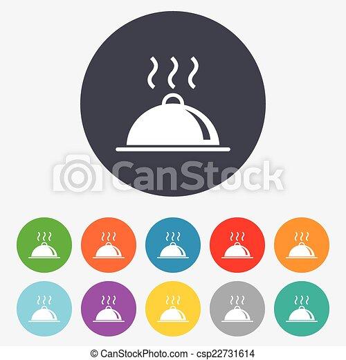 nourriture servant, signe, table, icon., plat, setting. - csp22731614