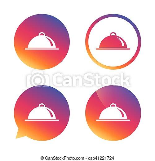 nourriture servant, signe, table, icon., plat, setting. - csp41221724