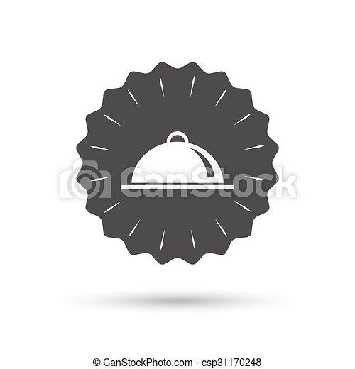 nourriture servant, signe, table, icon., plat, setting. - csp31170248