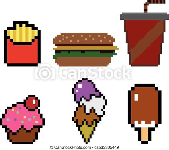 Nourriture Style Pixel Art Jeune Boisson Hamburger Style Glace Nourriture Jeune Pixel Frites 8 Bit Vecteur Canstock