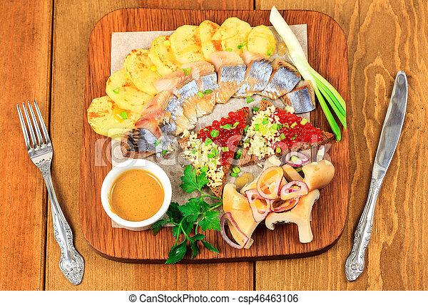 nourriture, table bois - csp46463106