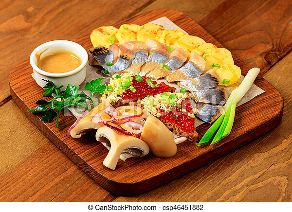 nourriture, table bois - csp46451882