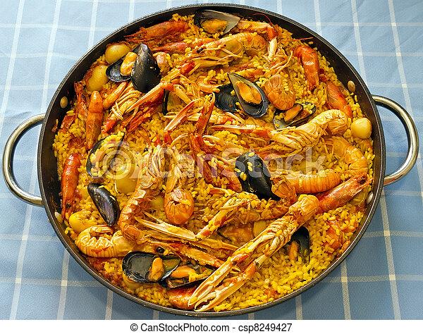 nourriture typique valenciana espagne paella ceci paella fruits mer espagnol moule dish. Black Bedroom Furniture Sets. Home Design Ideas