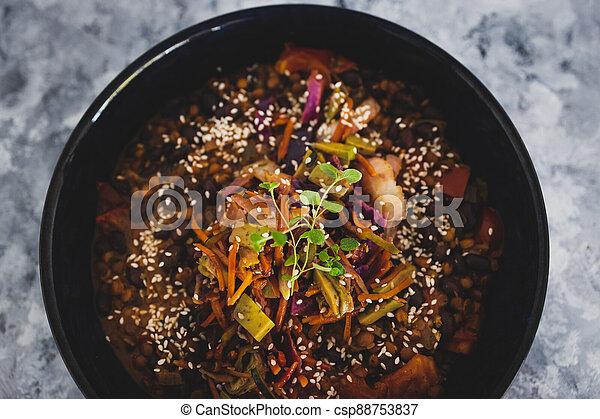 nourriture, végétariens, haricots, mexicain, complété, graines, mélangé, bol, sésame, vegan, nourrir, sain, salade chou, plant-based - csp88753837