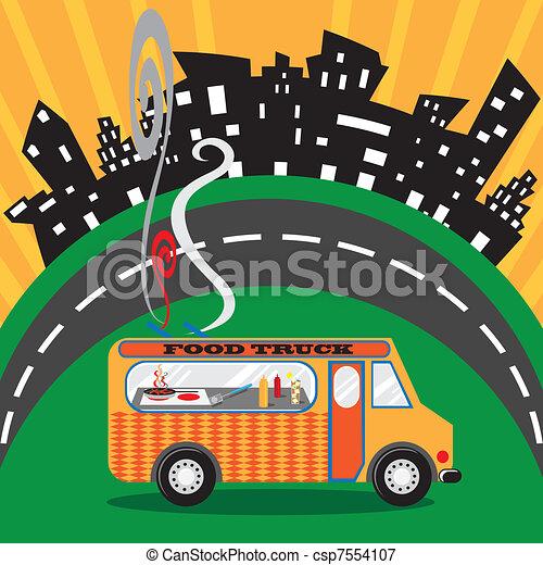 nourriture, ville, camion - csp7554107