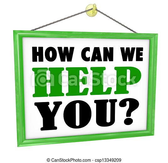 nous, aide, service, signe, comment, boîte, pendre, vous, magasin, utile - csp13349209