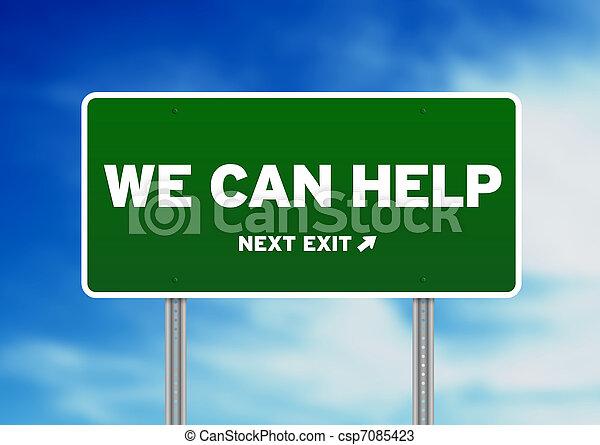 nous, aide, -, signe, vert, boîte, route - csp7085423