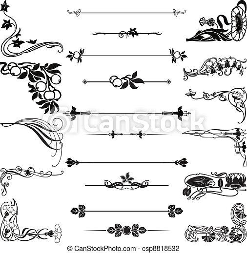 nouveau, arte, ornamento, cantos - csp8818532