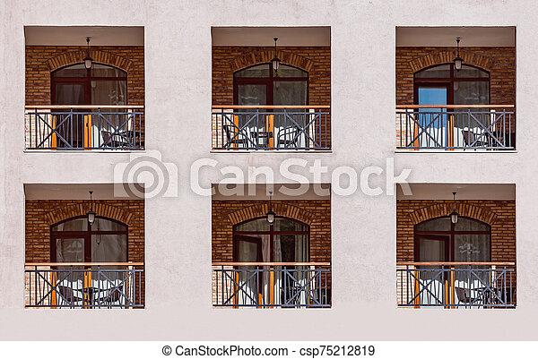 nouveau, bâtiment, balcons, fenetres, jour, time. - csp75212819