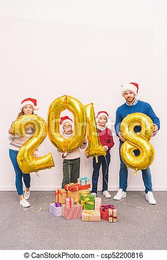 nouveau, ballons, famille, tenue, année - csp52200816