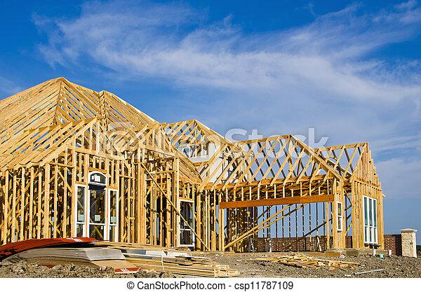 nouveau, cadre, construction, maison - csp11787109