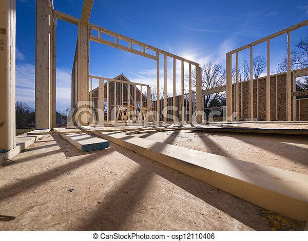 nouveau, construction, encadrement, maison - csp12110406