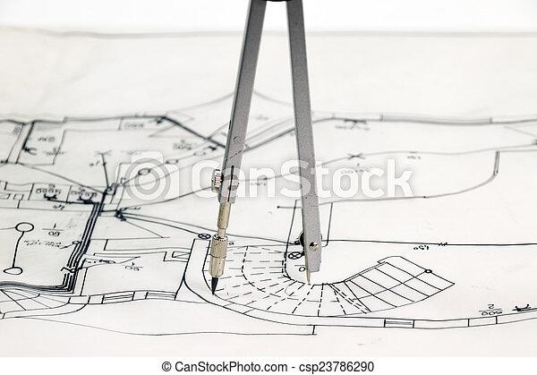 Nouveau, croquis, maison. Compasses., maison, croquis, dessin, nouveau.
