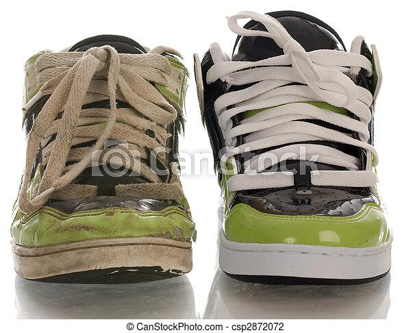 nouveau, dehors, chaussure, porté, une - csp2872072
