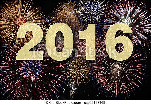 nouveau, feud'artifice, 2016, heureux, année - csp26163168