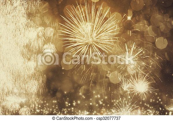 nouveau, feux artifice, année - csp32077737