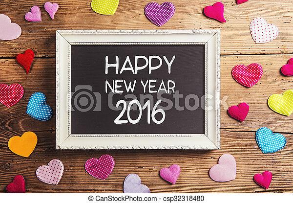 nouveau, heureux, composition, année - csp32318480
