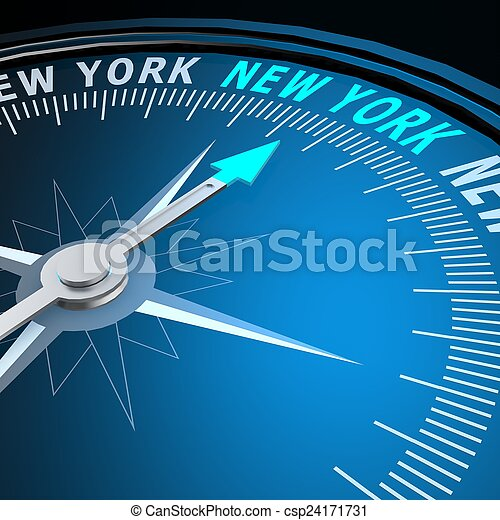 nouveau, mot, york, compas - csp24171731