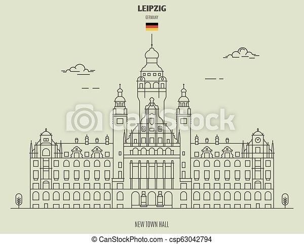 nouveau, ville, germany., repère, leipzig, salle, icône - csp63042794