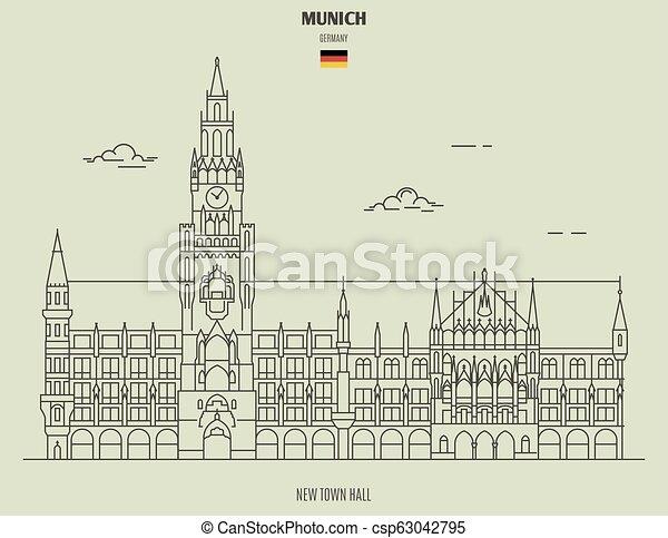 nouveau, ville, germany., repère, munich, salle, icône - csp63042795