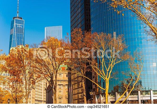 nouveau, ville, york, automne - csp34521651