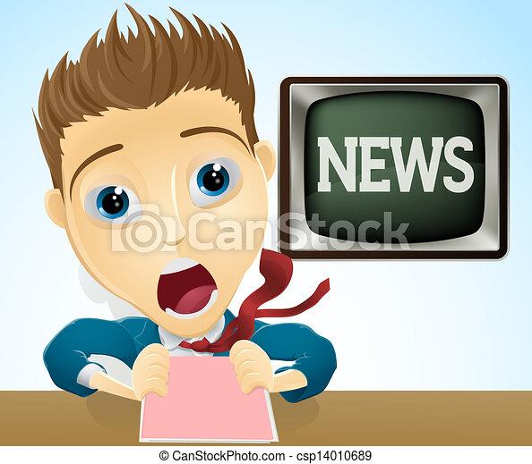 nouvelles tv, choqué, présentateur - csp14010689