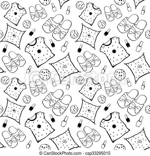 nouze, strana, film, pattern., seamless, poduška, přibít, vektor, koláček, večer, polský, snack., neposkvrněný, pajama, čerň - csp33295015