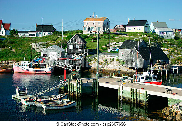 Nova Scotia Fishing Village  - csp2607636