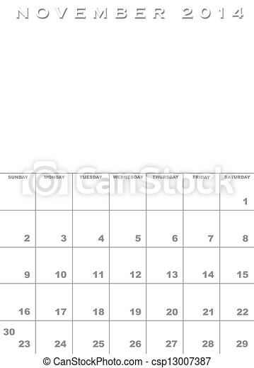 Month Of November 2014 Calendar Template Background With Stock