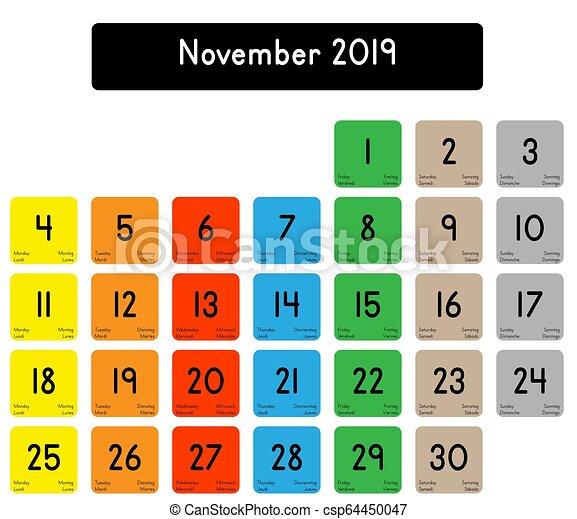Calendrier Mois De Novembre 2019.Novembre 2019 Calendrier Mois
