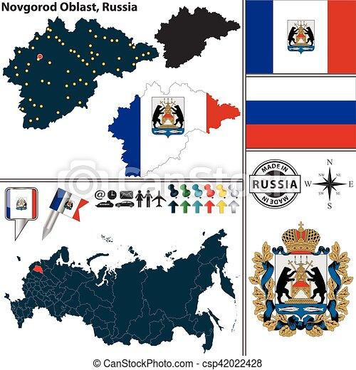 Novgorod Russia Map.Novgorod Oblast Russia Vector Map Of Novgorod Oblast With Coat Of