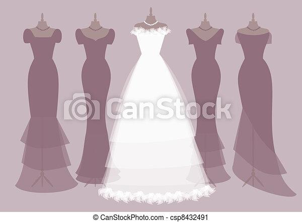 Trajes de novia y damas de honor - csp8432491