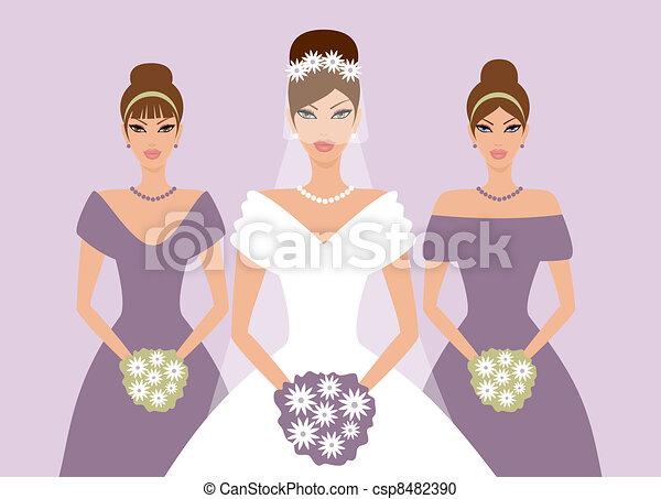 La novia y las damas de honor en violeta - csp8482390