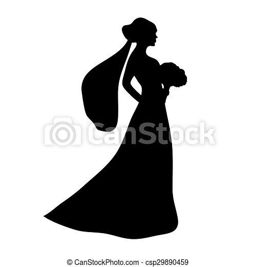 novia, silueta - csp29890459