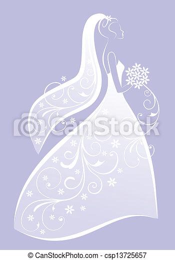 Novia, vector, vestido, boda. Vestido, ducha, ilustración,... vector ...