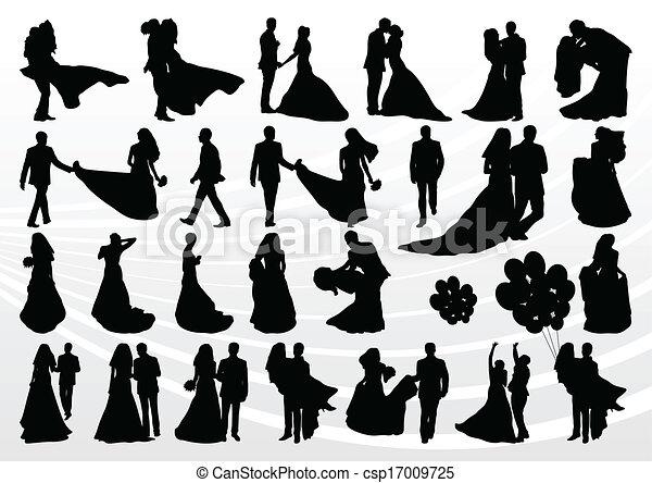La novia y el novio en la boda siluetas la colección de ilustraciones - csp17009725