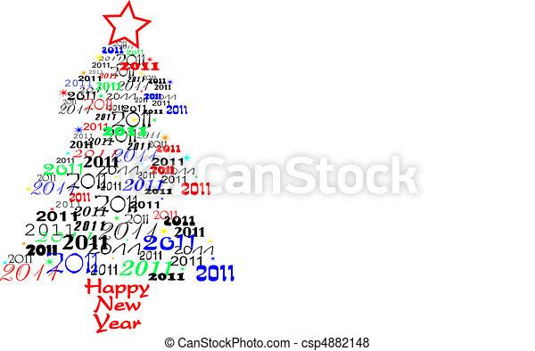 novo, 2011, árvore, ano - csp4882148