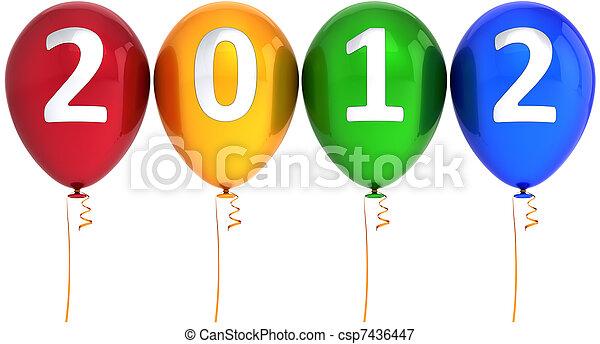 novo, 2012, balões, feliz, ano - csp7436447