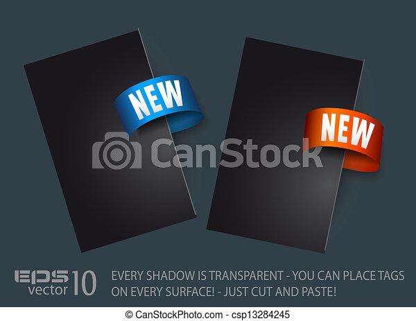 novo, adesivo, tag - csp13284245