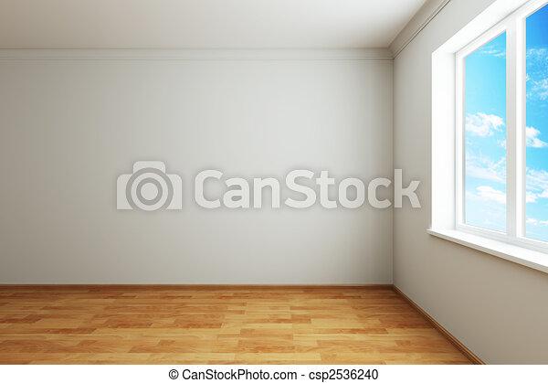 novo, janela, sala, vazio - csp2536240