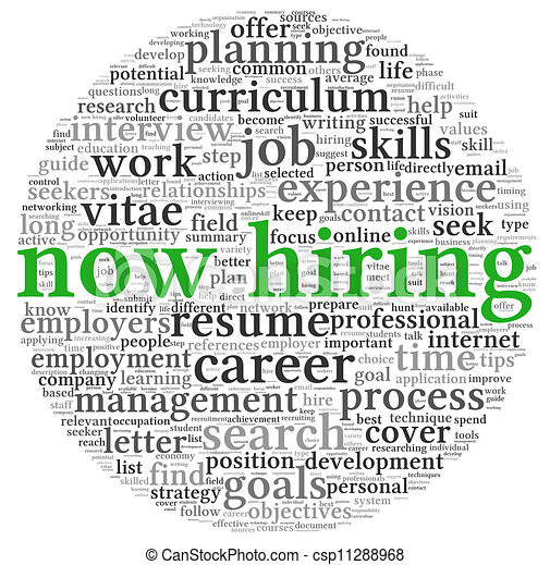 Now hiring concept in word tag cloud - csp11288968