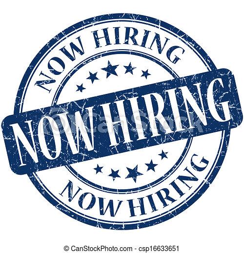 Now hiring grunge blue round stamp - csp16633651