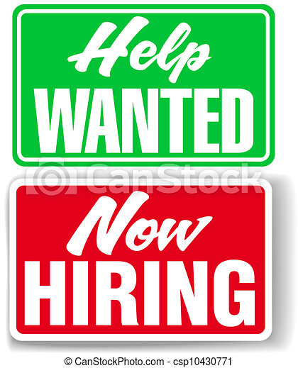 Now Hiring Help Wanted business signs - csp10430771